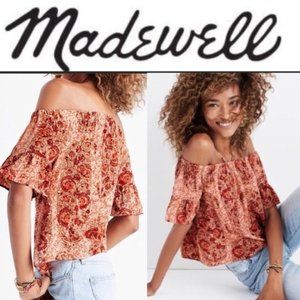 Madewell 100% Silk Off The Shoulder Paisley Blouse